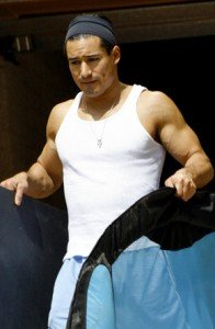 Mario Lopez is a double miss in a headband and wifebeater