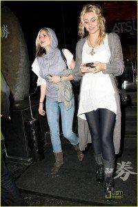The Lovely Bones actress Aly Michalka (right) dons the PH8 zip denim leggins
